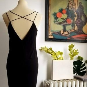 NWOT Silky Strappy Black Tulip Dress